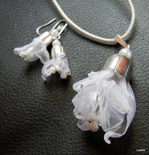 Organzovo-perlová bílá sada