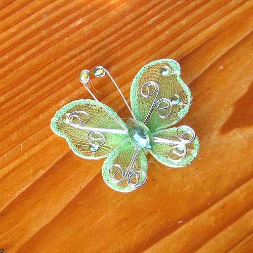Organzový Motýlek - Zelený