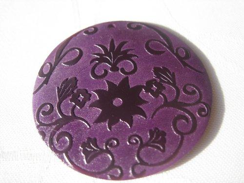 Přírodní perleťová placička - fialová, 5 cm
