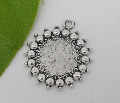 přívěsek kruh menší/ ant.stříbro/ 24mm/ 2ks