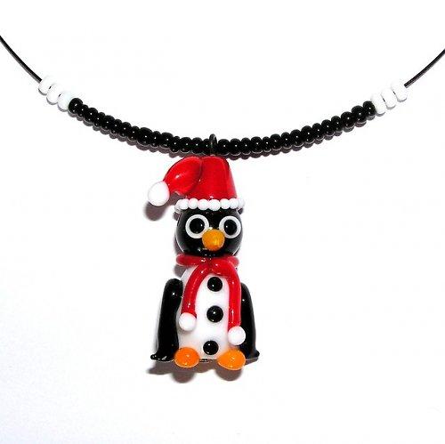 Tučňák v zimním oblečku - vinutá perle