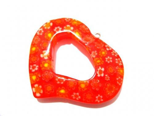 1104038/Millefiori srdce červeno/oranžové, 1 ks