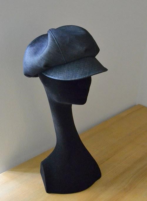 Čepice s kšiltem, osmidílná - jeans