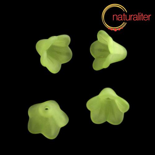 Květina akrylová - zvonek 14mm zelená, 8ks