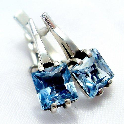 Náušnice «Rozbřesk» - stříbro 925, modrý topaz