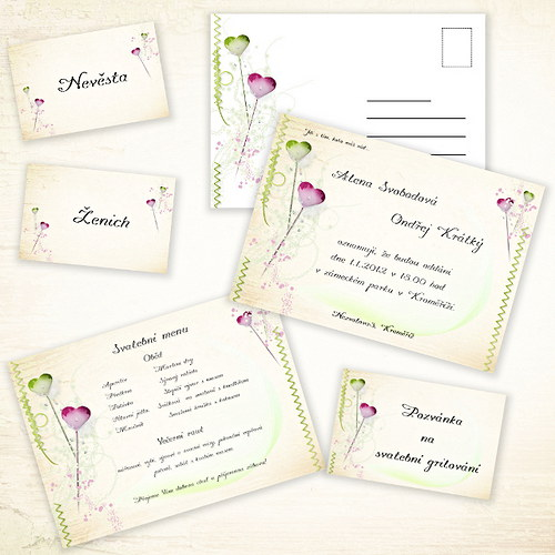 Sada - svatební oznámení, obálky...