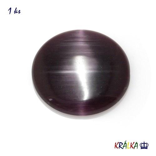 Skleněný kabošon kulatý fialový