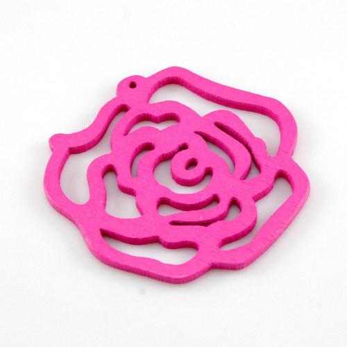 Dřevěný přívěsek -tm. růžová růže