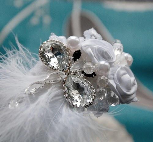 Svatební  čelenka do vlasů Vážka crystal