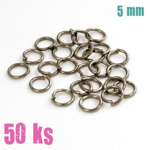 Leskle černé kroužky 5 mm (50 ks)