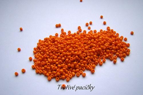 Rokajl skleněný jednobarevný 3 mm - oranžová 20g