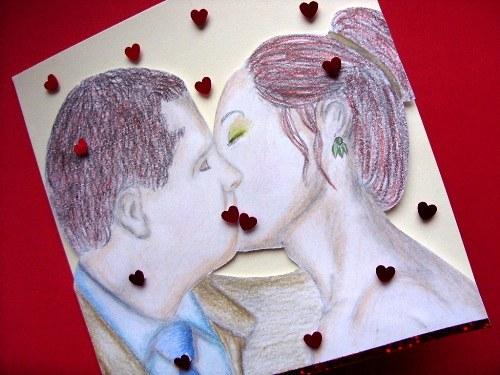 Blahopřání plné lásky polibek - Valentýn