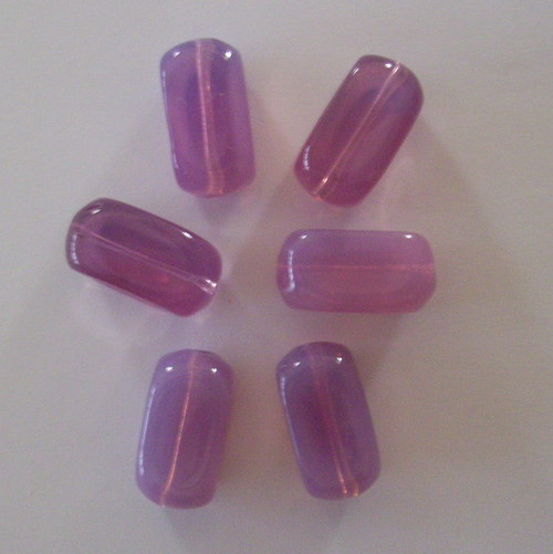 Skleněné mačkané korálky - fialový opál