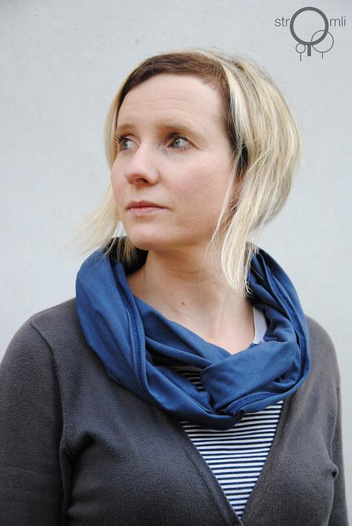 Šátek na více způsobů modro šedý