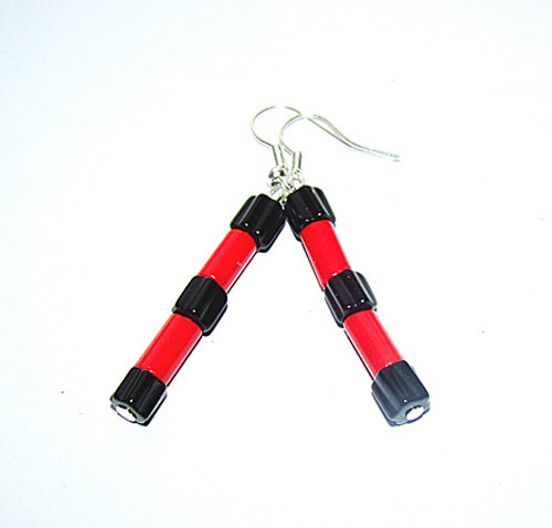 775.náušnice  černá a červená