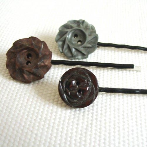 Sponky knoflíčkové kytičkové starobylé