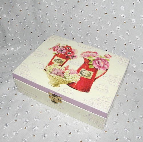 Krabička na čaj s konvičkami v růžovém