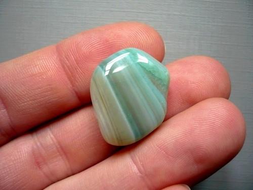 Troml. kámen – achát zelený 20 mm, č.12