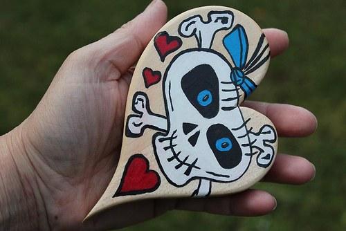 LEBKA - srdce dřevěné, ručně malované
