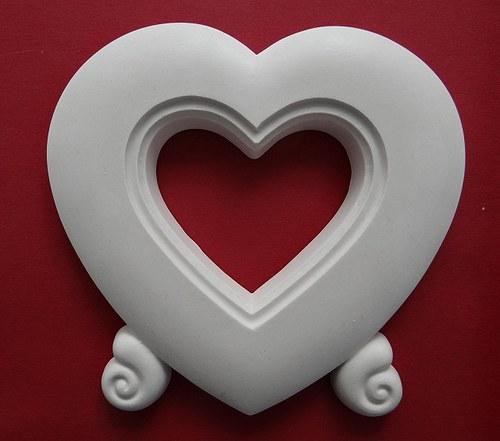 Sádrová dekorace fotorámeček srdce