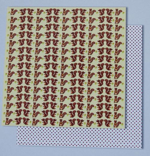 Glitrový scrapbook papír - veverky 118