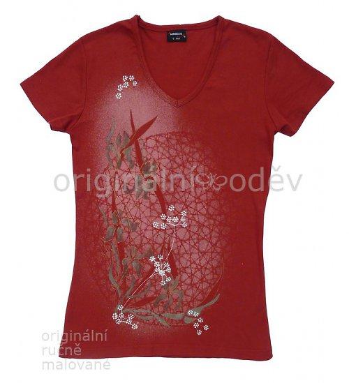 Malované tričko dámské - kosatce - terracota