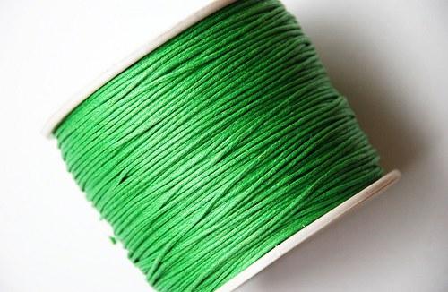 voskovaná šňůrka 10m- zelená