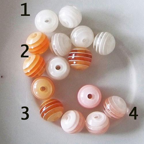 kuličky pruhované /plast /10mm/ růžová č.4 / 6ks