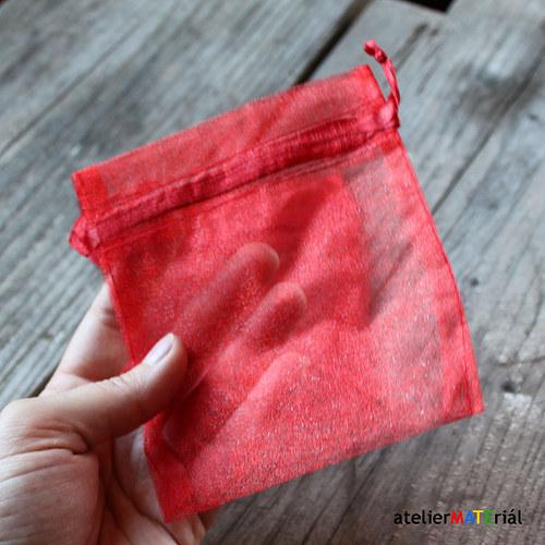 Organzový sáček 2ks - červená L