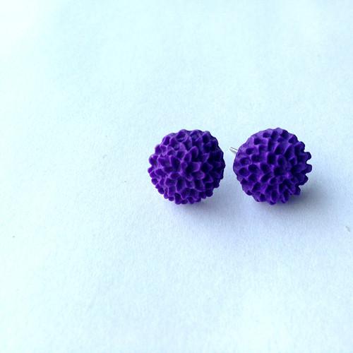Náušnice květina fialová