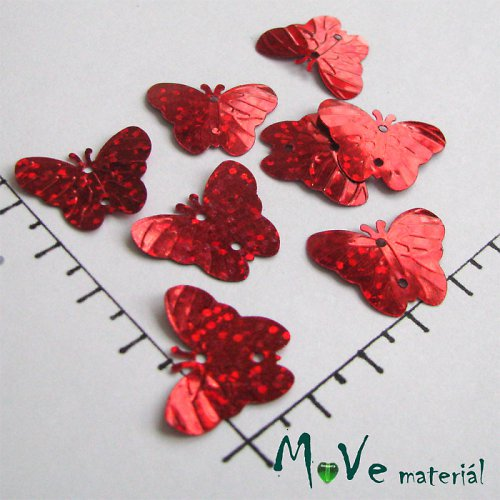 Flitry motýlek holog. červený 18x22mm, 5g