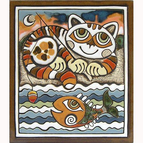 Keramický obrázek - Kočka rybář K-106-N