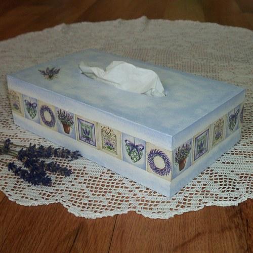 Krabička na kapesníky s levandulí