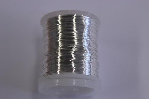 Měděný drátek 0,8mm - stříbrný, návin 8,5-9m