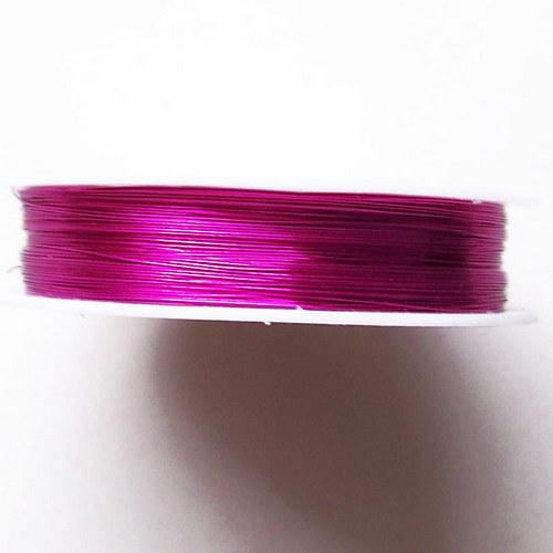 Drát lakovaný/ 0,3mm/ růžová tmavá /26m
