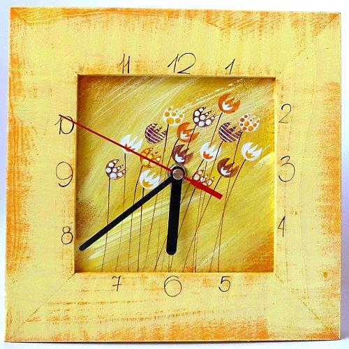 hodiny s velkou kukačkou - žluté s tulipány