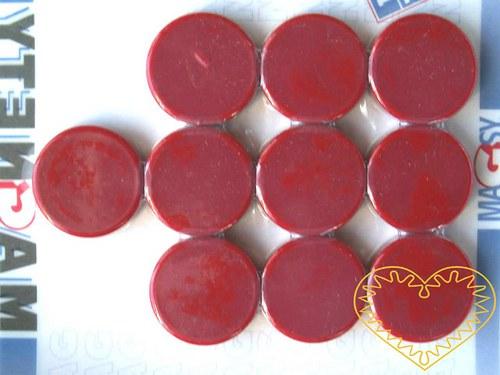 Magnet červený - Ø 2 cm - sada 10 kusů