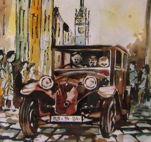 Akvarel, Olomouc Ostružnická ulice/ Tatra 12/1926