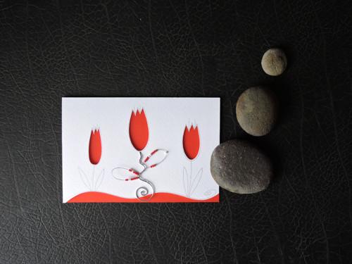 Přání s tulipány - červená...