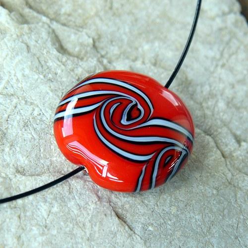 Náhrdelník - velká točená lentilka - červená