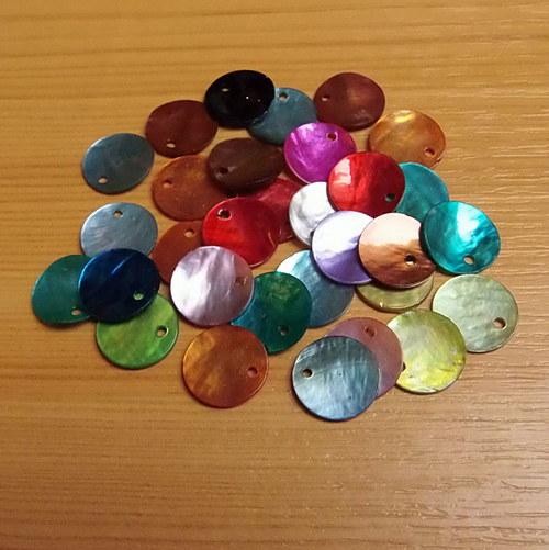 Perleťové penízky - 13 mm - mix - 20 kusů
