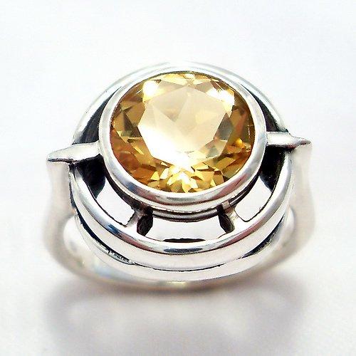 Prsten «Košík» - stříbro 925, přírodní citrín