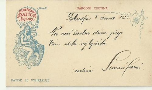 Tvrdá karta ústřední matice školska 1923