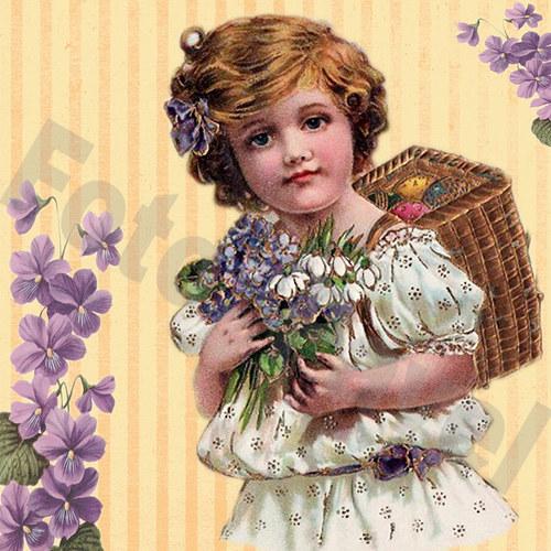 Vintage motiv - holčička s fialkami