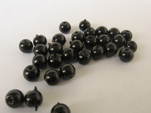 Vosková perla - černá 5 mm / 20 ks