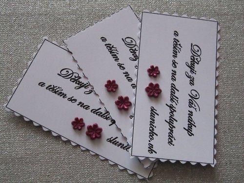 Děkovné kartičky s Vašim textem a ozdobou