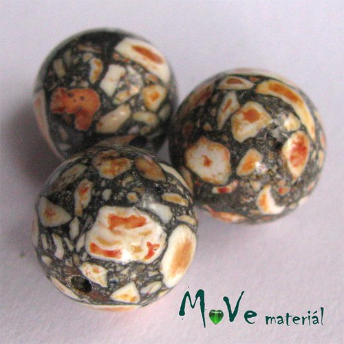 Korálky Marble žlutá 12 mm 3 ks