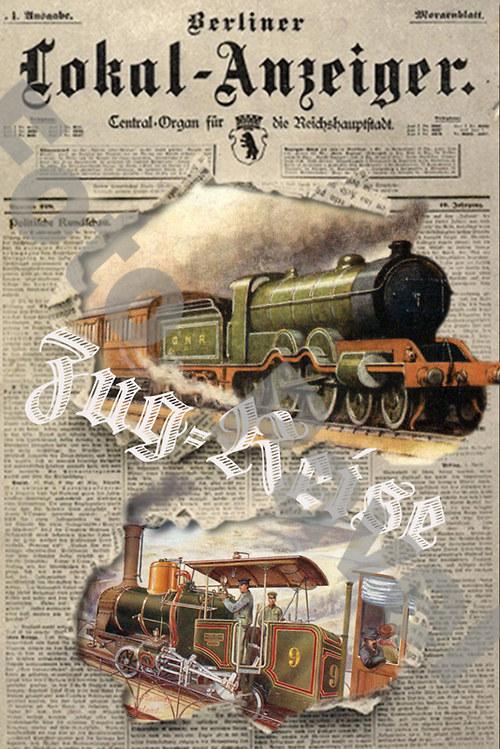 Vintage motiv - parní lokomotiva - noviny