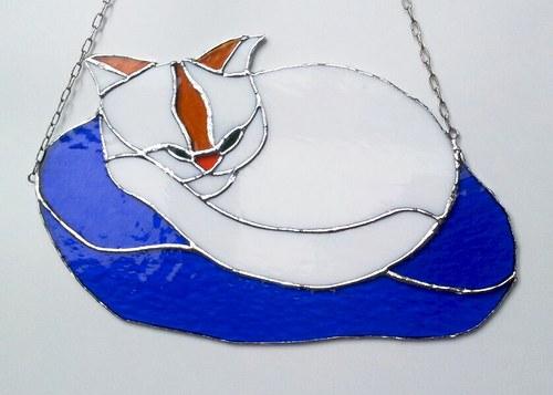 Závěsná vitráž Kočka 30x19cm