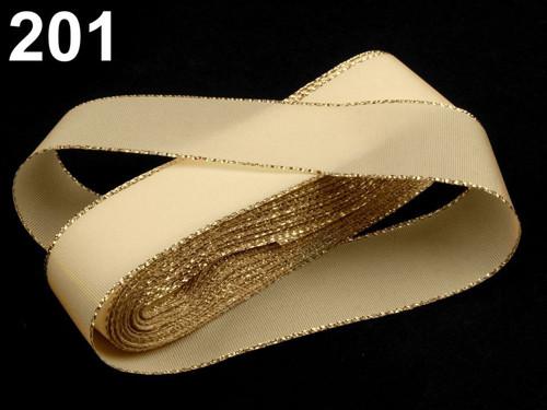 Taftová stuha s lurexem 25mm (10m) - béžová zlatá